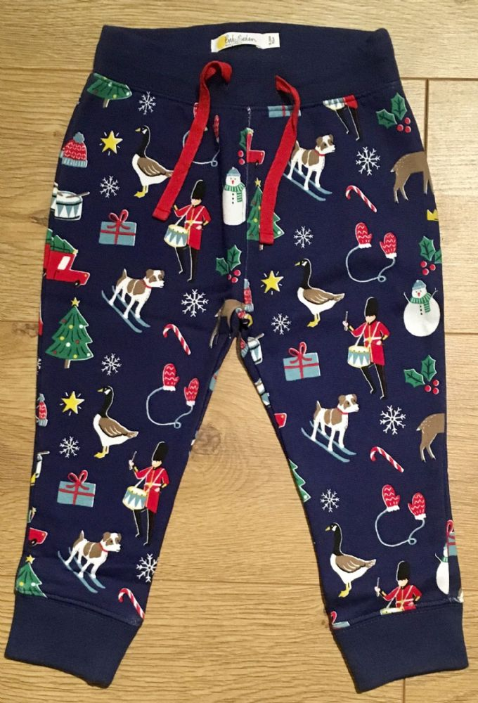 BABY BODEN NAVY CHRISTMAS PRINT JOGGERS 0-3 TO 18-24 MONTHS